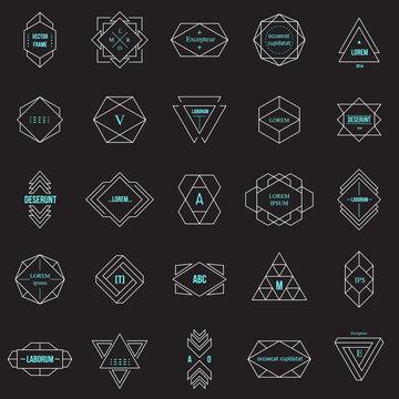 Set geometric signs, labels, and frames. Line design elements, vector illustration