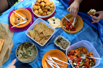 Unrecognizable people eating various picnic food: roasted vegetables salad, baba ghanoush, gluten-free crackers, foccacia bread, gluten-free and sugarfree dates cake. Top view.