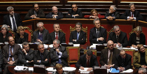 Italian PM Prodi attends a confidence vote session at the Senate in Rome