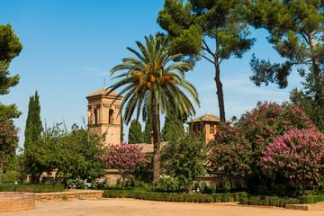 In de dag Artistiek mon. Convent of San Francisco in Alhambra, Spain.