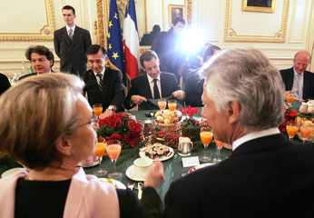French Ministers attend the traditional New Year government breakfast at the Interior Ministry in Paris