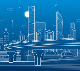 Automobile highway, infrastructure and urban illustration, night city on background, towers and skyscrapers, airplane fly, vector design art