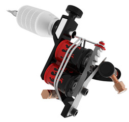 Metallic black tattoo machine with red fire coil