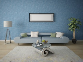 Mock up a modern living room with an exclusive sofa on a background of blue decorative plaster.