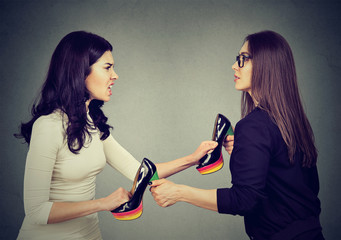 women fighting tearing pulling apart shoes