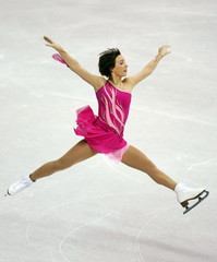 Leonova of Russia performs during Ladies Short Program portion of 2009 ISU World Figure Skating Championships in Los Angeles