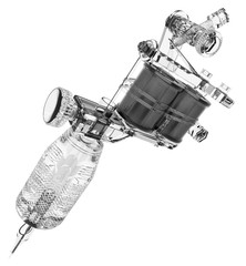 Grey plastic tattoo machine with transparent grip