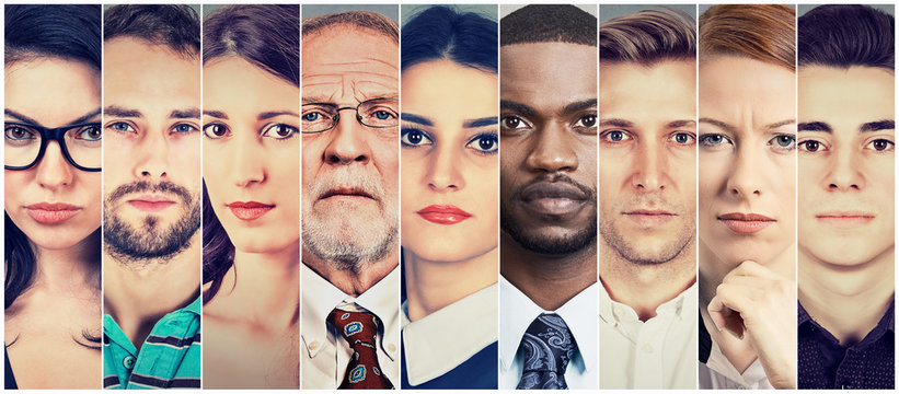 Multiethnic group of serious people