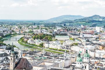Panoramic view Salzburg from Festung Hohensalzburg
