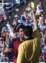 BARCELONA'S FIGO IS SHOWN RED CARD IN SAN SEBASTIAN.
