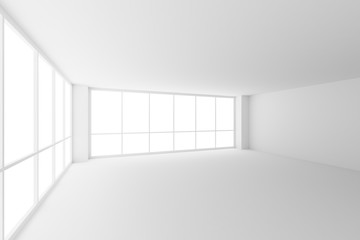 Empty white business office room with two large windows.