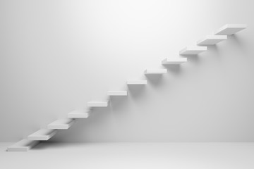 Ascending stairs abstract white illustration