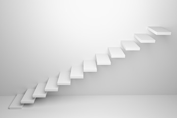 Ascending stairs abstract white 3d illustration