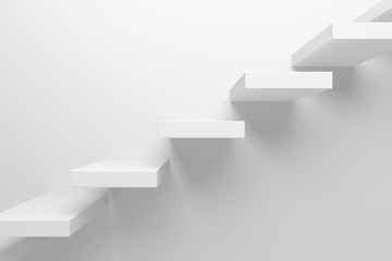 Ascending stairs closeup abstract white 3d illustration