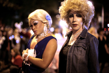 Participants pose before taking part in the annual High Heel Drag Race at Dupont Circle in Washington