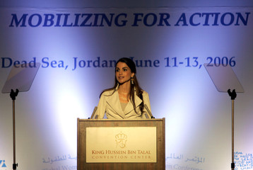 Jordan's Queen Rania speaks at opening ceremony of Global Women's Action Network for Children Conference in Dead Sea
