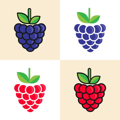 cartoon blackberry and raspberry set