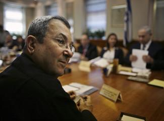 Israel's Defence Minister Ehud Barak attends cabinet meeting in Jerusalem