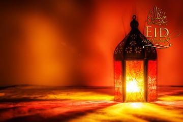 Ramadan Kareem Eid Mubarak greetings islamic muslim holiday background with colorful eid lamps or lanterns