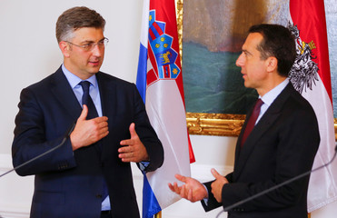 Austrian Chancellor Kern talks to Croatian Prime Minister Plenkovic in Vienna