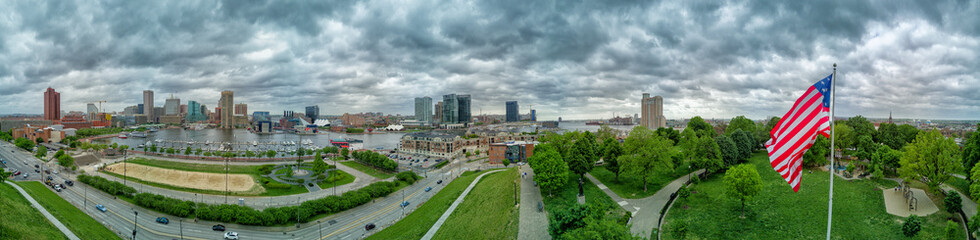 Baltimore aerial view panorama cityscape