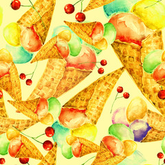 Vintage watercolor seamless pattern - wafer cone ice cream with berries. It is watercolor.