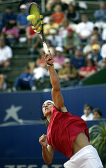 Nadal of Spain serves against Italian Starace in ATP match in Buenos Aires.