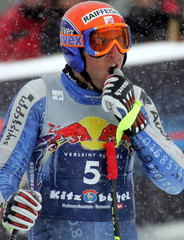 Silvan Zurbriggen of Switzerland stands in the finish area after third practise run for a men's ...