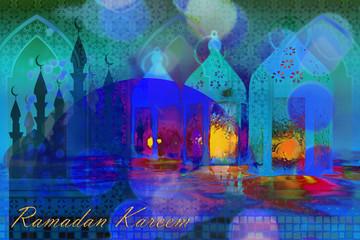 Ramadan Kareem Eid Mubarak greeting - Islamic muslim holiday Ramadan Eid background with eid lanterns or lamps