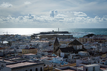 Old town in Cadiz on a sunny day in March 2017, Andalusia, Spain