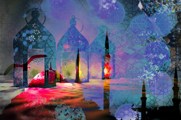 Islamic muslim holiday Ramadan Eid background with eid lanterns or lamps and arabic oriental windows and mosque silhouette