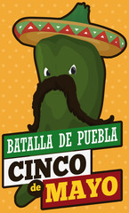 Poblano Chili Pepper like Mexican Charro for Cinco de Mayo, Vector Illustration