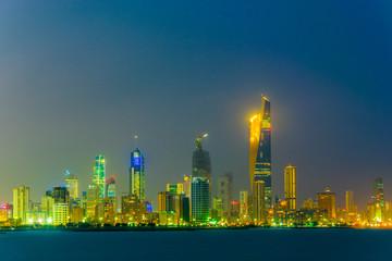 Skyline of Kuwait during night.