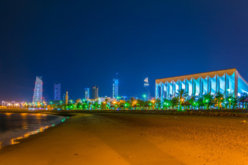 National assembly building in Kuwait during night.