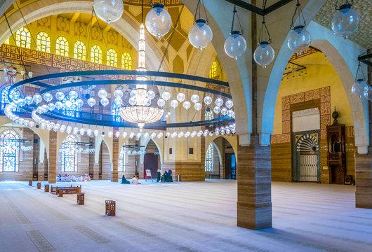 MANAMA, BAHRAIN, OCTOBER 23, 2016: Interior of the Al Fateh Grand Mosque in Manama, the capital of Bahrain.