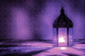 Eid Mubarak Ramadan Kareem greeting - islamic muslim holiday background with eid lantern or lamp
