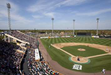 The New York Mets face the Detroit Tigers during the fourth inning of their Grapefruit League baseball game at Joker Marchant Stadium in Lakeland