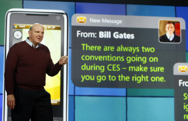Steve Ballmer, Microsoft Corp CEO speaks in front of a mock instant message from Bill Gates at the annual Consumer Electronics Show (CES) in Las Vegas
