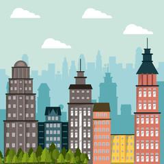 building landscape apartment tree city design vector illustration