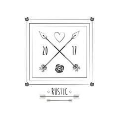 rustic card date invitation ornate image vector illustration