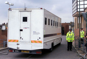 POLICE VAN CARRYING YOUTHS CHARGED WITH MURDER OF DAMILOLA TAYLOR ARRIVES AT COURT.