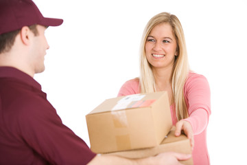 Shipping: Woman Accepts Delivery From Man