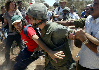 International peace activists and Palestinians scuffle with an Israeli border policeman during a pro..