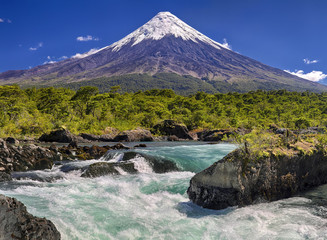 Petrohue Waterfalls in front of Volcano Osorno (Chile)