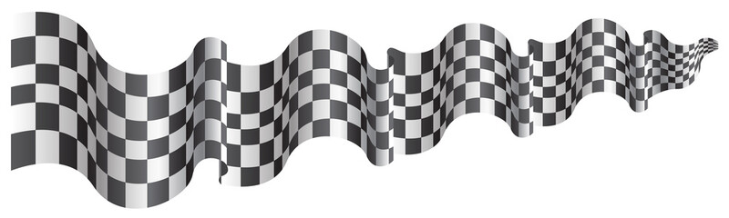 Checkered flag long size flying on white background vector illustration.
