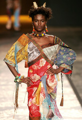 Model presents creation from designer Lino Villaventura's summer collection during Sao Paulo Fashion Week
