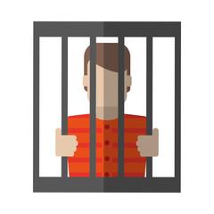male prisoner behind bars icon image vector illustration design