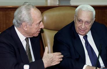 ISRAELI PRIME MINISTER ARIEL SHARON AND FOREIGN MINISTER SHIMON PERESATTEND CABINET IN JERUSALEM.