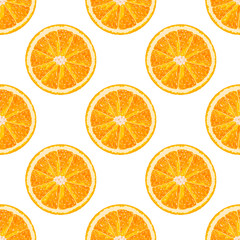 Vector seamless pattern of orange slice. Realistic citrus background