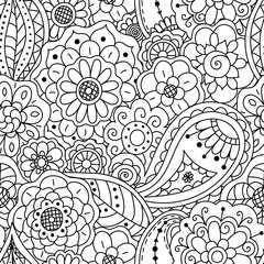 Vector seamless pattern of floral doodle elements. Coloring page book for adults.